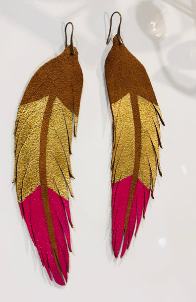 Feather Earring Gold and Hot Pink