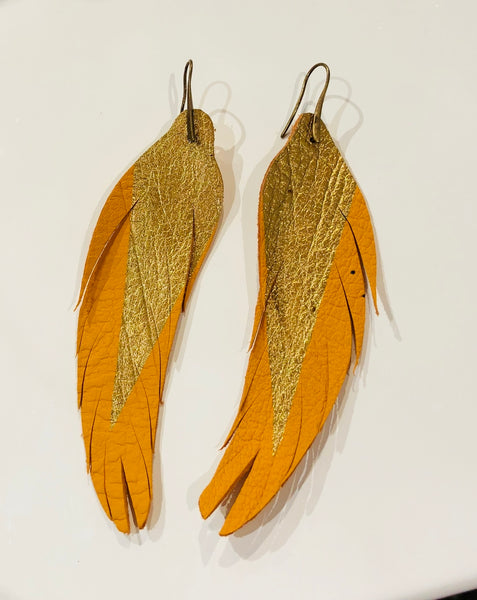 Leather Feather Earring Gold and Yellow