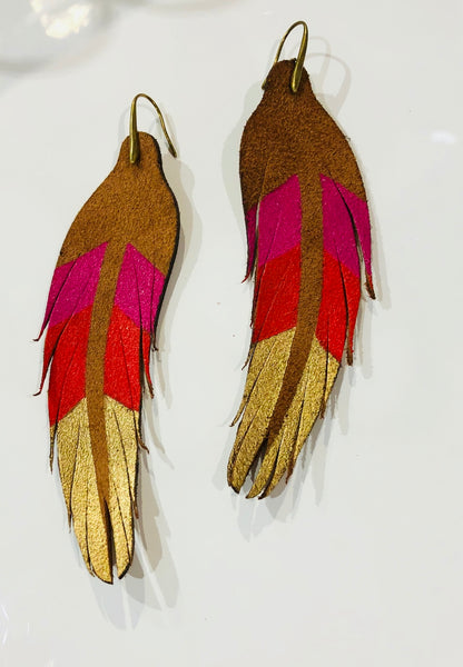 Feather Earring Red, Pink & Gold