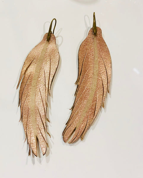 leather feather earring metallic pink