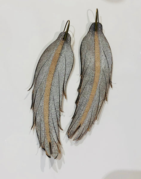 leather feather earring metallic pale blue