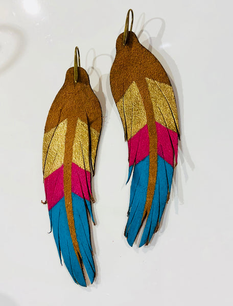 leather feather earring bright blue and pink and gold