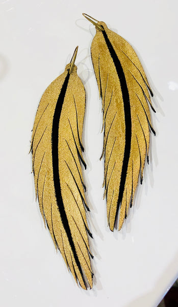 leather feather earring gold