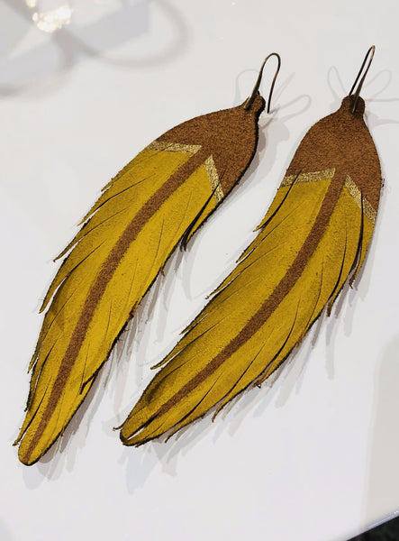 Leather Feather Earring yellow