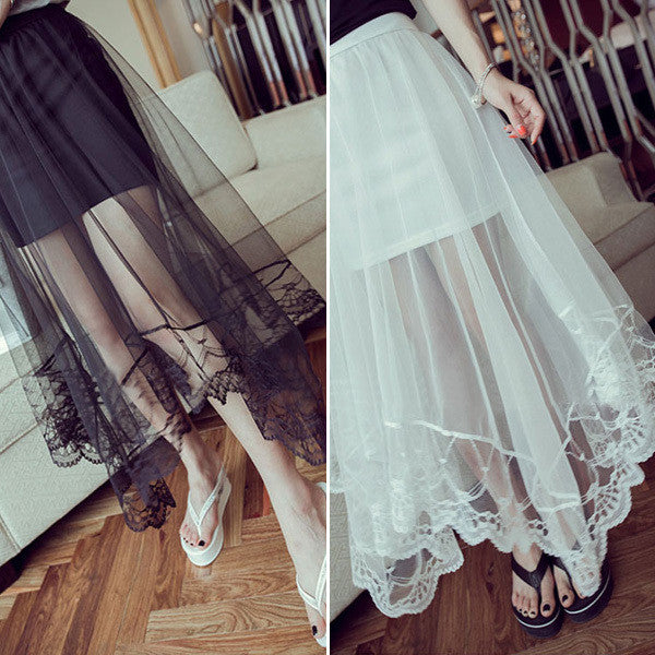 Gauze See Through Tulle Skirts