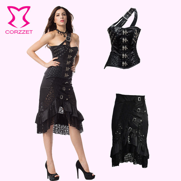 2 Pieces Black Satin Steampunk Corset Dress