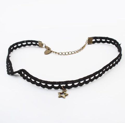 Gothic Cosplay Choker in Star Pendant