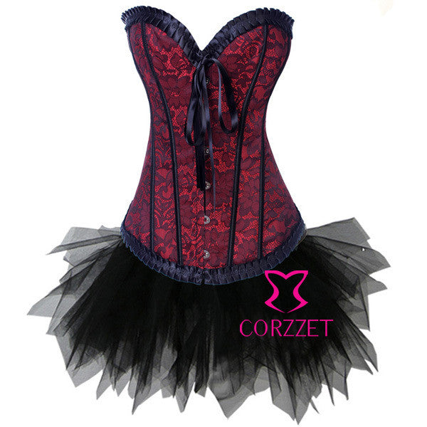 Blood colored Corselet with Black TutuSkirt