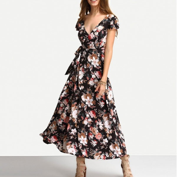 V-Neck Floral Print Backless Dress