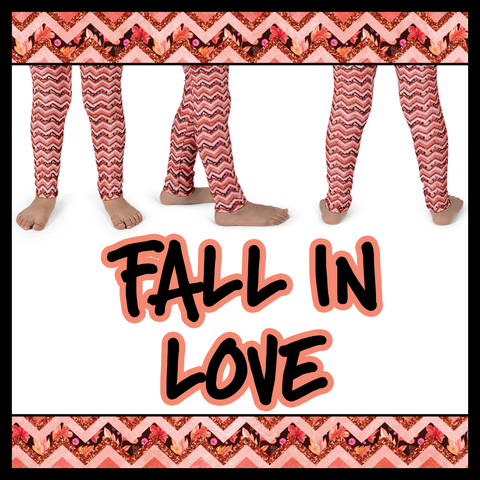 Fall In Love-Chevron Faux Glitter (Kid's leggings)
