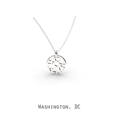Washington DC - Small Round Map Pendant Sterling Silver