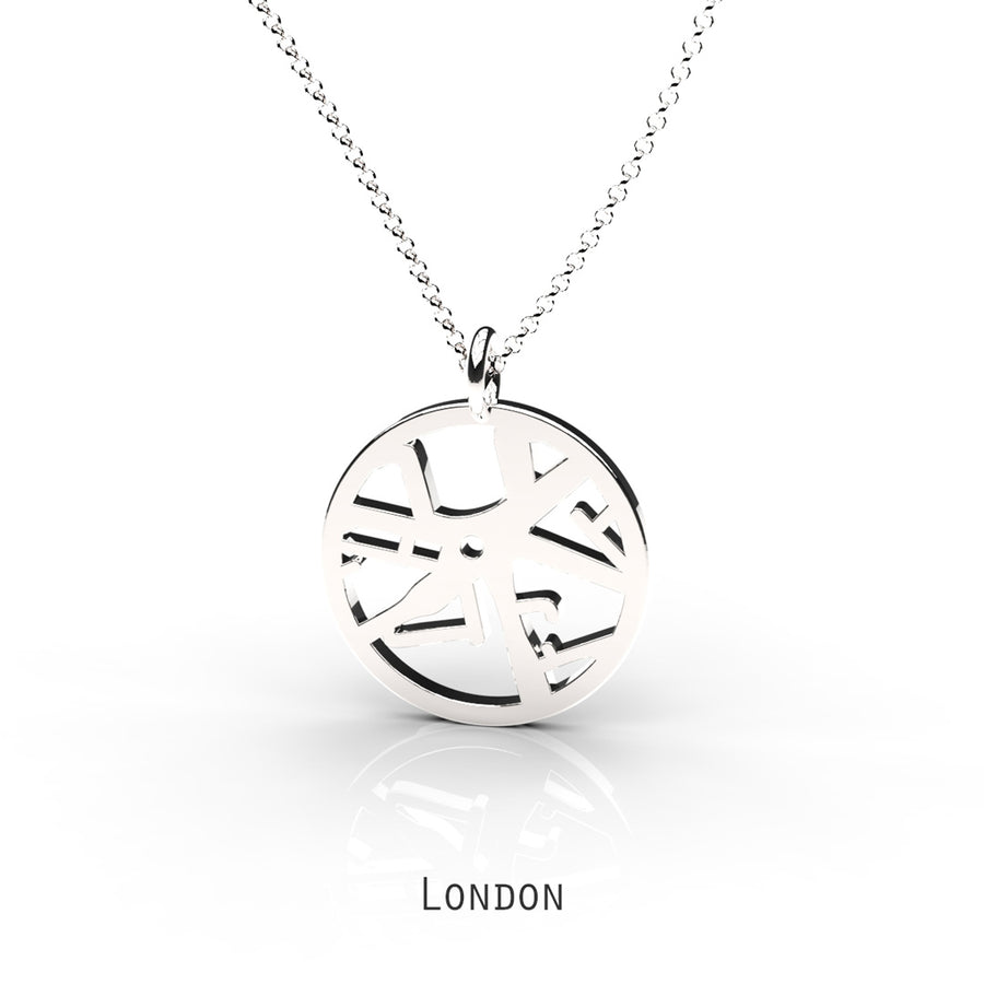 London - Small Round Map Pendant Sterling Silver