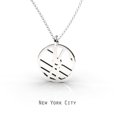 New York City -  Small Round Map Pendant Sterling Silver