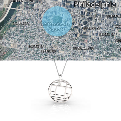 Philadelphia - Large Round Map Pendant Sterling Silver