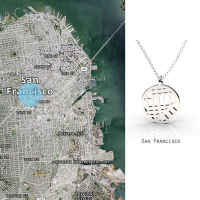 San Francisco Small Round Map Pendant Sterling Silver