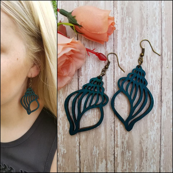 Seashell Laser Cut Wood Earrings