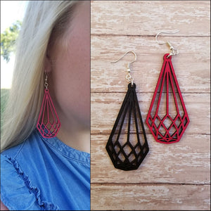 Laser Cut Wood Earrings