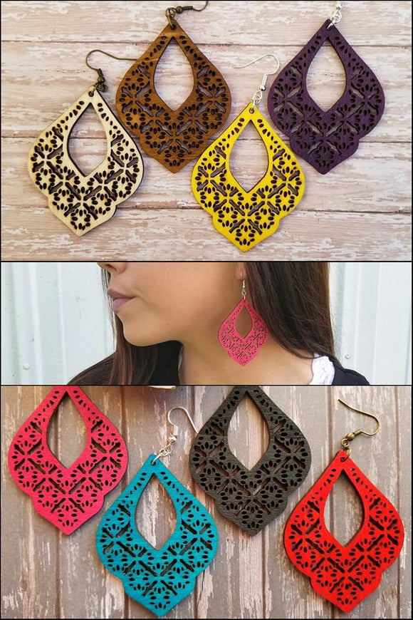 Moroccan Laser Cut Wood Earrings
