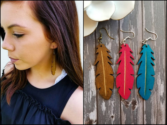 Feather Wood Earrings