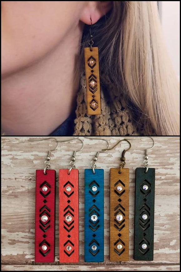 Rectangle Wood Earring With Swarovski Crystals