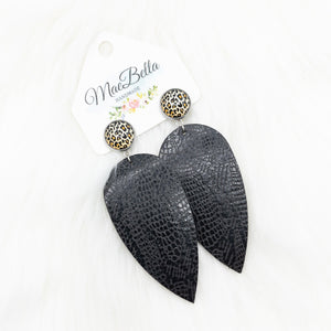 Druzy and Leather Earrings