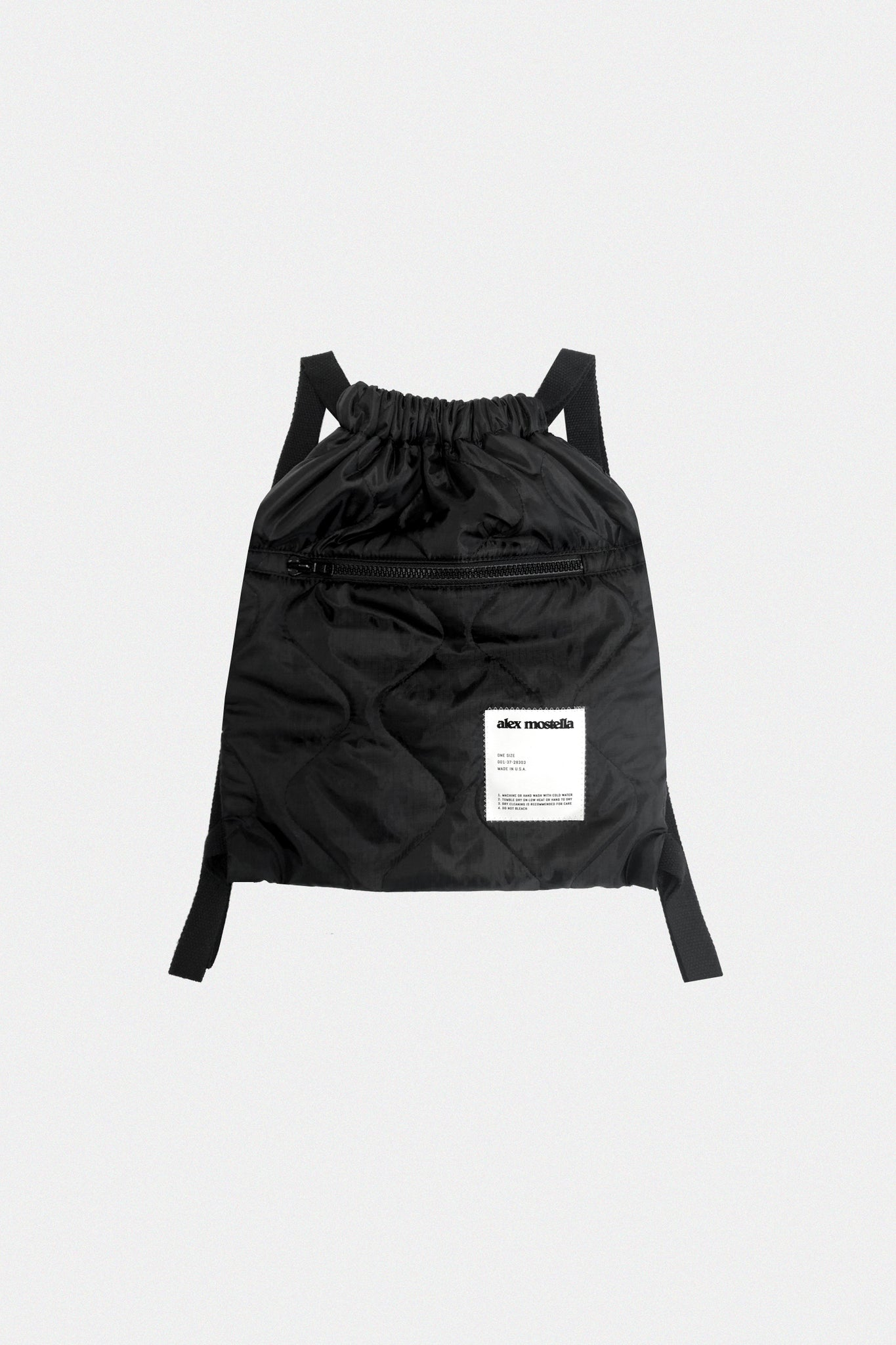 QUILTED GYM BAG - BLACK