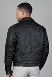 QUILTED NYLON TRUCKER - BLACK