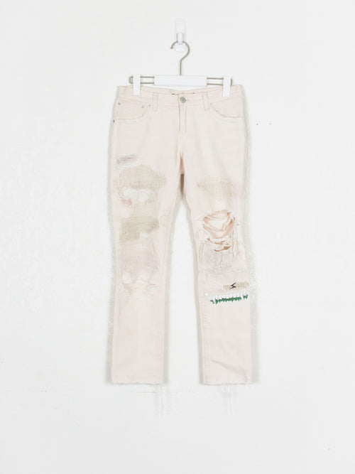 Undercover SS05 64 Gold Stitched Distressed Denim