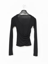 Helmut Lang AW04 Asymmetric Long Sleeve Wool Silk Top