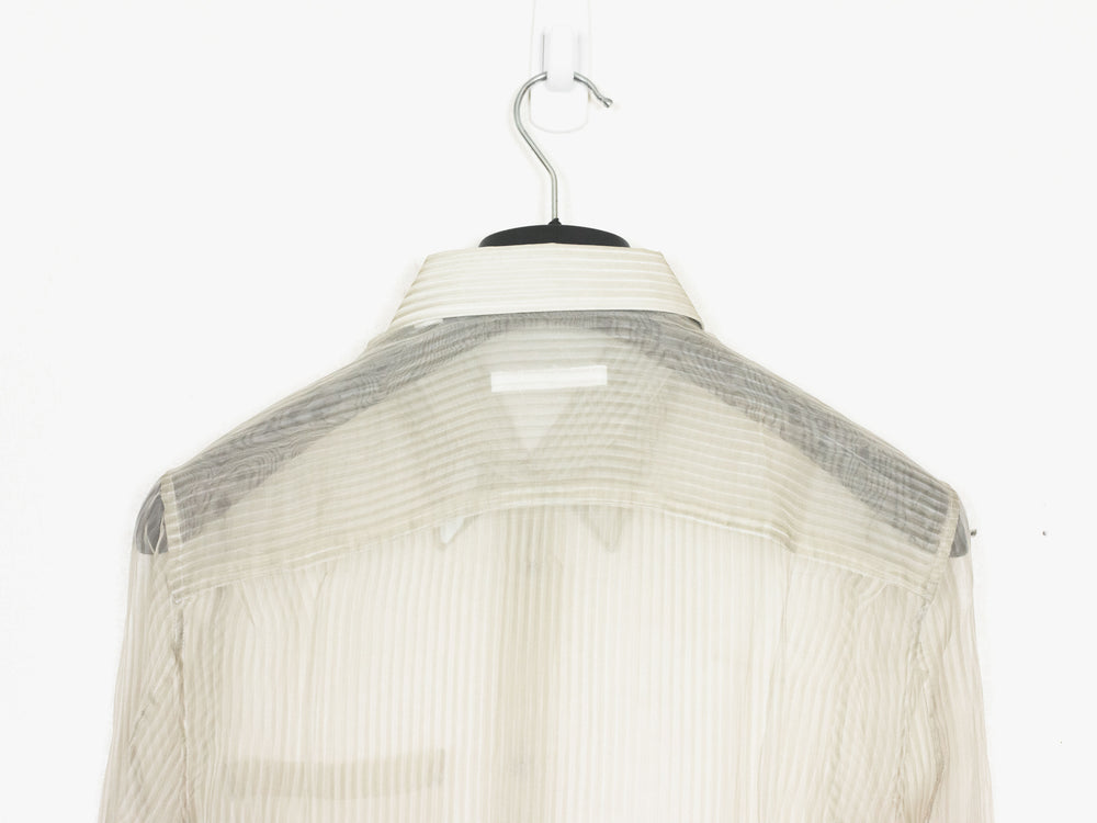 Helmut Lang SS02 Transparent Silk Striped Button Shirt