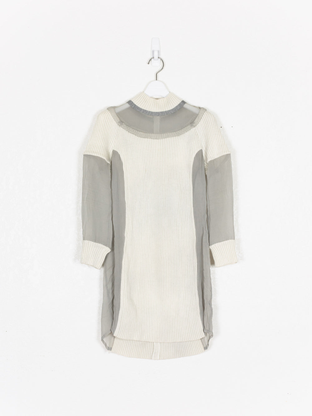 Undercover AW07 Wool Knit & Silk Paneled Mock Neck Dress