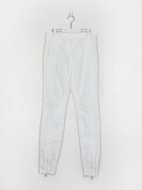 Dries Van Noten White Ankle Zip Biker Pants