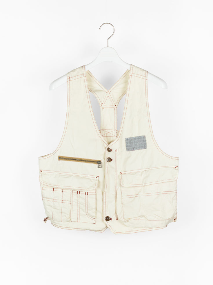 Dézert 90s White Cotton Cargo Vest