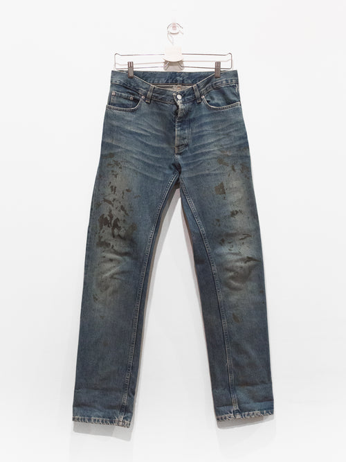 Helmut Lang Gold Splatter Painter Denim