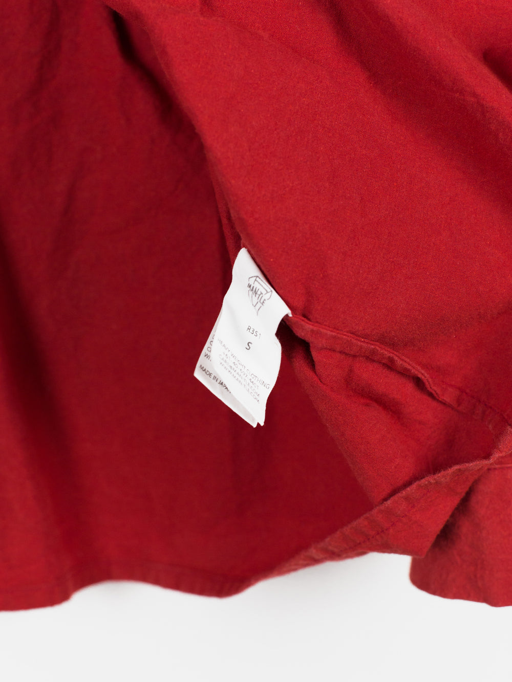 "Man-tle AW17 R3S1 Red Paraffin Waxed Cotton ""Regular"" Shirt"
