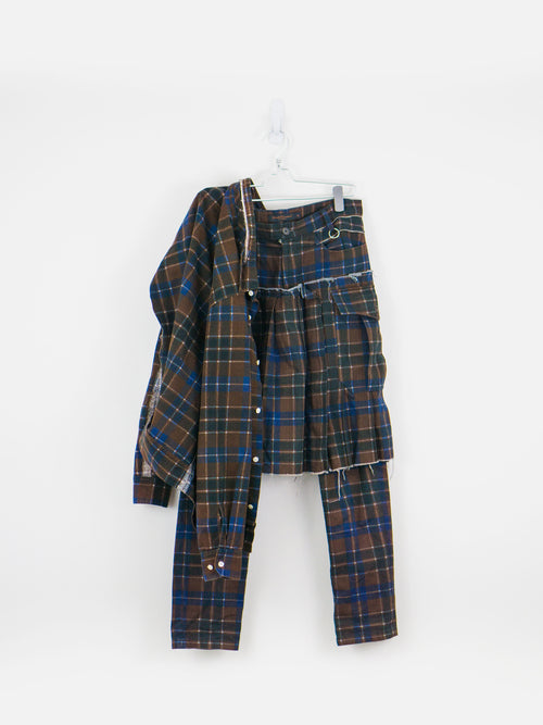 Undercover SS03 Distressed Tartan Set w/ Kilted Trouser & Shirt