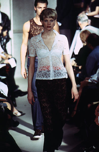 Helmut Lang SS96 Sheer Floral Lace Shirt