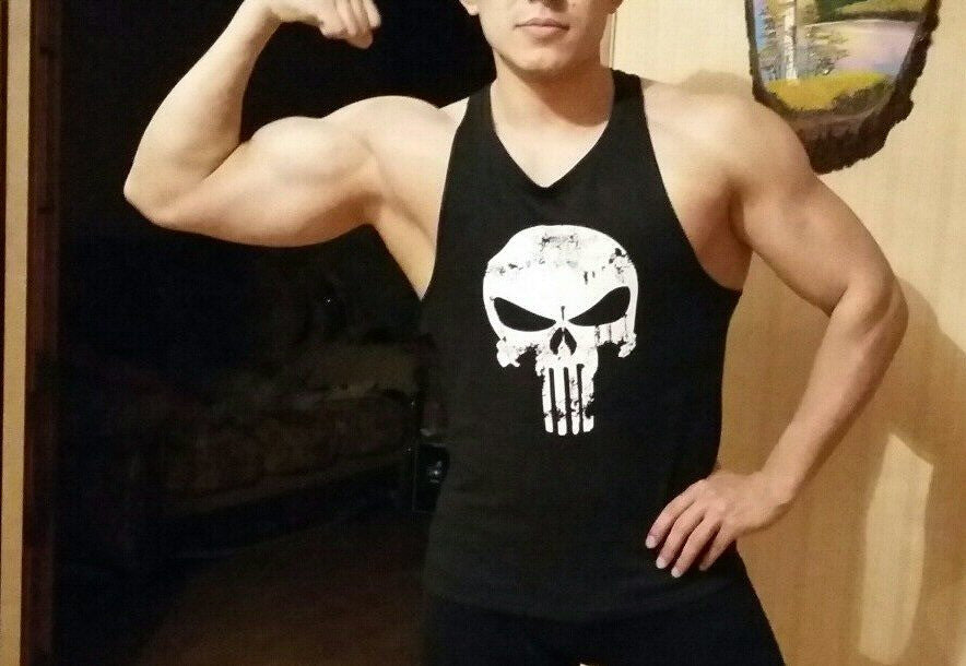 punisher tank top flexed