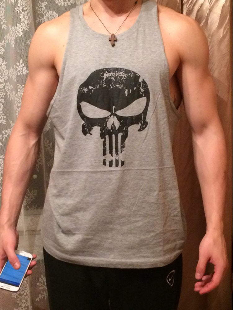 punisher grey tank top front