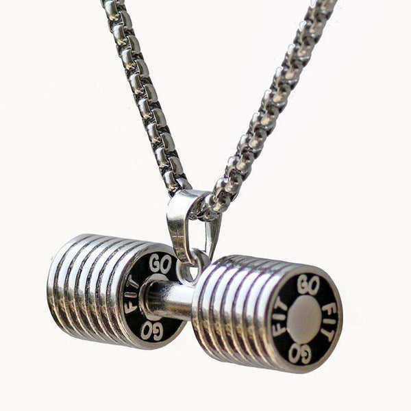 Go Fit Dumbell Fitness Necklace Bodybuilding