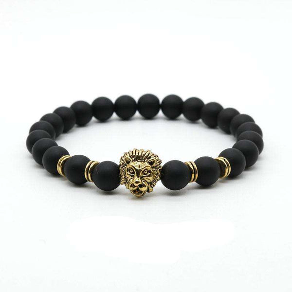 Gold Lion Head Stone Beaded Bracelet