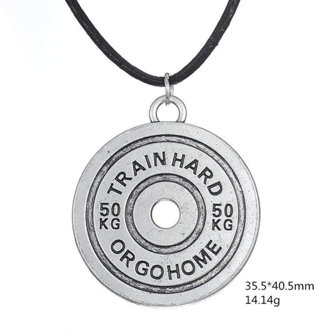 50kg Train Hard or Gohome Fitness Weight-lifting Pendant Rope Chain Bodybuilding Necklace Men