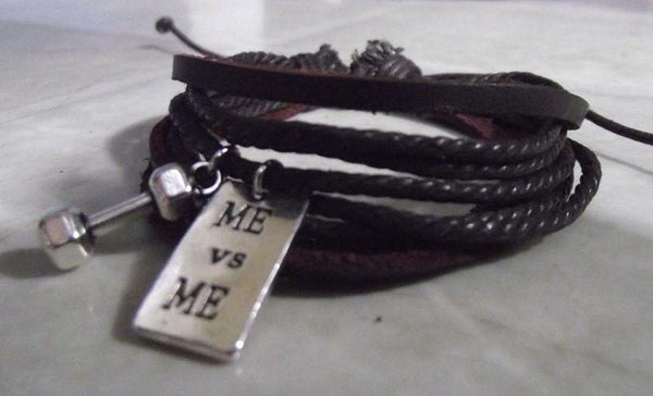 DUMBBELL, ME vs ME Charm Leather Fitness Bracelet