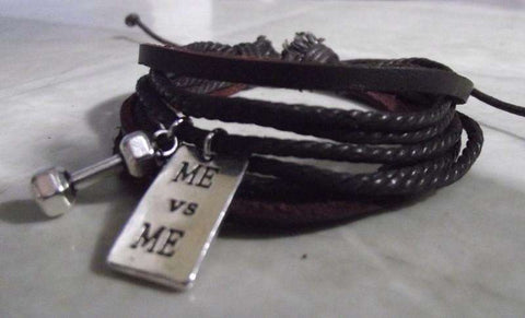 FREE DUMBBELL, ME vs ME Charm Leather  Fitness Bracelet