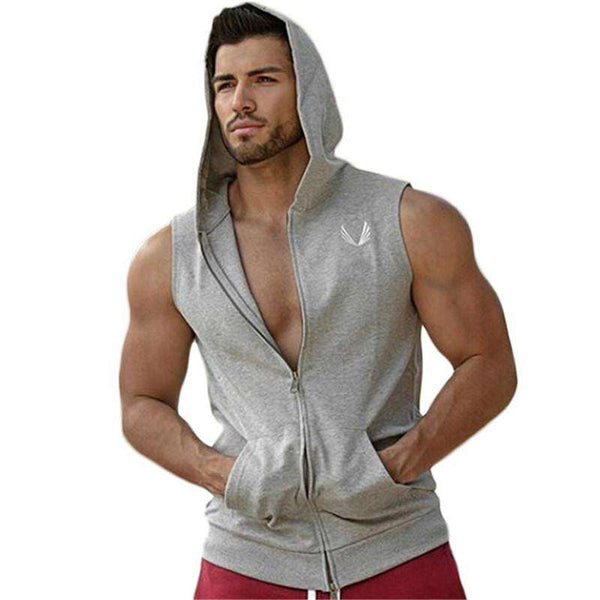 Casual Hooded Sleeveless Shirt for Bodybuilding
