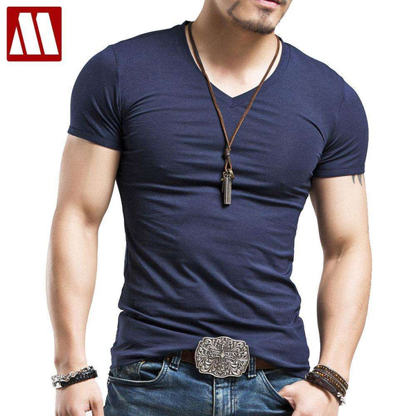 Trendy Fashion Fitness V-Neck Cotton Tshirt