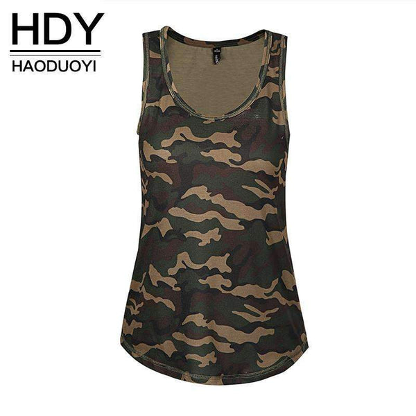 Camouflage Army Striped Tank Tops for Women