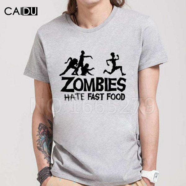 Zombies Hate Fast Food Tshirt - High Quality