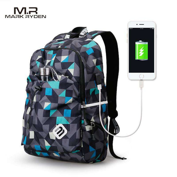 College Waterproof Nylon Backpack with USB Charging