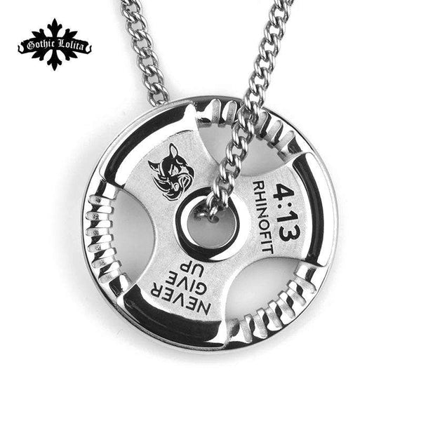 Never Give Up Weightplate Fitness Necklace